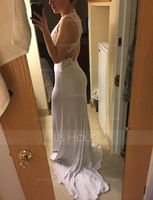 Trumpet/Mermaid Scoop Neck Sweep Train Jersey Prom Dresses With Beading Sequins (272197837)