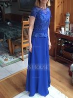 Scoop Neck Floor-Length Chiffon Mother of the Bride Dress (267215808)
