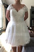 V-neck Knee-Length Tulle Lace Wedding Dress (265213171)