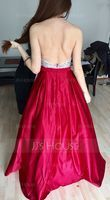 Ball-Gown Halter Floor-Length Satin Prom Dresses With Beading Sequins (018138329)
