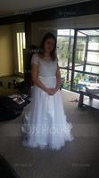 A-Line/Princess Scoop Neck Sweep Train Tulle Lace Wedding Dress With Beading Sequins (002052783)