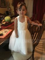 A-Line/Princess Tea-length Flower Girl Dress - Satin/Tulle/Lace Sleeveless Halter (010101898)