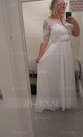 V-neck Sweep Train Chiffon Lace Wedding Dress With Beading Sequins (265257561)