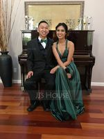A-Line V-neck Floor-Length Charmeuse Prom Dresses With Ruffle (272263786)