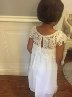 Empire Knee-length Flower Girl Dress - Chiffon/Lace Sleeveless Scoop Neck With Ruffles (010090574)