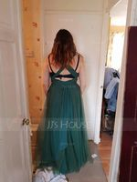 A-Line V-neck Floor-Length Tulle Prom Dresses With Ruffle Bow(s) (018112661)