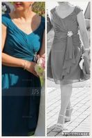 V-neck Knee-Length Chiffon Mother of the Bride Dress (267213558)