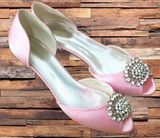 Women's Satin Kitten Heel Peep Toe Pumps With Rhinestone (273194788)