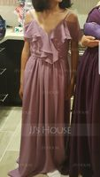 V-neck Floor-Length Chiffon Junior Bridesmaid Dress With Cascading Ruffles (268215811)