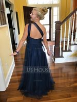 A-Line/Princess One-Shoulder Floor-Length Tulle Bridesmaid Dress With Ruffle (007090183)