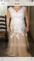A-Line V-neck Floor-Length Tulle Wedding Dress (002095830)