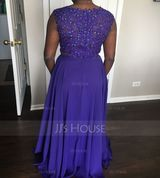 A-Line Scoop Neck Floor-Length Chiffon Prom Dresses With Beading Sequins (272261627)
