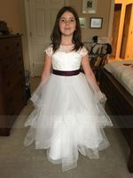 A-Line Floor-length Flower Girl Dress - Satin/Tulle/Lace Short Sleeves Scoop Neck (Undetachable sash) (010144178)