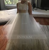 A-Line Scoop Neck Tea-Length Tulle Junior Bridesmaid Dress With Sash (009126276)