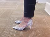 Women's Leatherette Stiletto Heel Closed Toe Pumps Sandals With Rhinestone (273234383)