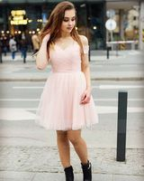 A-Line/Princess Off-the-Shoulder Short/Mini Tulle Homecoming Dress With Ruffle Lace Beading Sequins (022068073)
