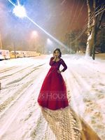 Ball-Gown V-neck Floor-Length Tulle Prom Dresses With Beading Sequins (272177454)