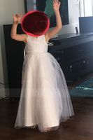A-Line/Princess Floor-length Flower Girl Dress - Tulle Sleeveless V-neck With Beading Sequins Pleated (269177218)