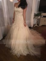 Trumpet/Mermaid Sweetheart Chapel Train Tulle Lace Wedding Dress With Beading Sequins (002056970)