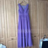 Empire V-neck Floor-Length Chiffon Bridesmaid Dress With Ruffle (007072795)