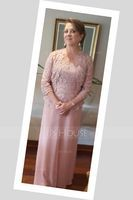 Square Neckline Floor-Length Chiffon Lace Mother of the Bride Dress (008131952)