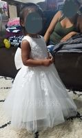 A-Line Knee-length Flower Girl Dress - Tulle/Lace Sleeveless Scoop Neck With Lace/Bow(s) (010117689)