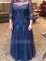 Scoop Neck Floor-Length Tulle Mother of the Bride Dress With Beading Sequins (267196470)