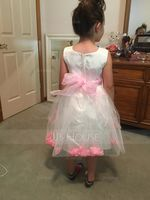 Knee-length Flower Girl Dress - Organza Satin Tulle Sleeveless Scoop Neck (269213890)