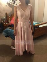 A-Line/Princess V-neck Asymmetrical Satin Lace Bridesmaid Dress With Bow(s) (266177088)
