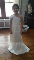 A-Line/Princess One-Shoulder Floor-Length Chiffon Junior Bridesmaid Dress With Ruffle (268183085)