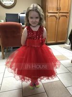 Ball Gown/Empire Knee-length Flower Girl Dress - Tulle/Sequined/Cotton Blends Sleeveless Jewel With Flower(s) (010087445)