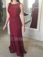 Trumpet/Mermaid Scoop Neck Floor-Length Chiffon Evening Dress With Bow(s) (017112646)