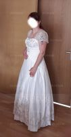 Ball-Gown Square Neckline Floor-Length Satin Wedding Dress With Embroidered Ruffle Sequins (002012175)