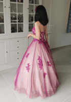 Ball-Gown Sweetheart Floor-Length Tulle Prom Dresses With Beading (018147838)