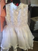 A-Line/Princess Knee-length Flower Girl Dress - Organza Sleeveless Stand Collar With Beading Appliques Bow(s) (269177206)