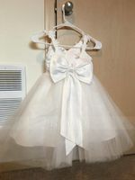 A-Line Knee-length Flower Girl Dress - Tulle Sleeveless Straps With Bow(s) (010091216)