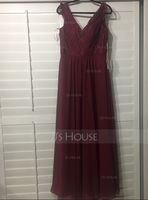 A-Line/Princess V-neck Floor-Length Chiffon Lace Bridesmaid Dress With Ruffle (266177078)