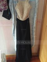 A-Line/Princess Scoop Neck Floor-Length Chiffon Prom Dresses With Beading Sequins (018107799)