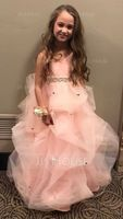 Ball-Gown/Princess Floor-length Flower Girl Dress - Tulle Sleeveless Straps With Ruffles/Bow(s)/Rhinestone (010103727)