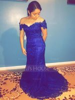 Trumpet/Mermaid Off-the-Shoulder Sweep Train Lace Evening Dress (271187760)