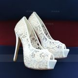 Women's Lace Stiletto Heel Peep Toe Platform Pumps Sandals (273210484)