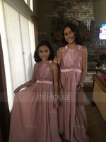 A-Line Scoop Neck Floor-Length Chiffon Junior Bridesmaid Dress (009148412)