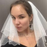 Two-tier Shoulder Veils With Beaded Edge (006066058)