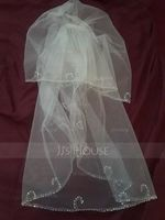 Two-tier Elbow Bridal Veils With Sequin Trim Edge (006036603)