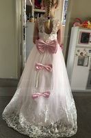 A-Line/Princess Sweep Train Flower Girl Dress - Satin/Tulle/Lace Sleeveless Scoop Neck With Appliques (010130846)