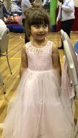 A-Line/Princess Floor-length Flower Girl Dress - Satin/Tulle/Lace Sleeveless Scoop Neck (010090577)