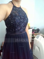 A-Line/Princess Halter Floor-Length Tulle Prom Dresses With Beading (018138373)