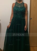 Ball-Gown Scoop Neck Floor-Length Tulle Prom Dresses With Beading Sequins (018105556)