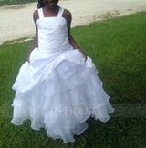 Ball Gown Floor-length Flower Girl Dress - Taffeta/Organza Sleeveless Straps With Ruffles/Beading/Appliques/Pick Up Skirt (010005784)