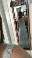 A-Line/Princess V-neck Floor-Length Chiffon Bridesmaid Dress (266177016)